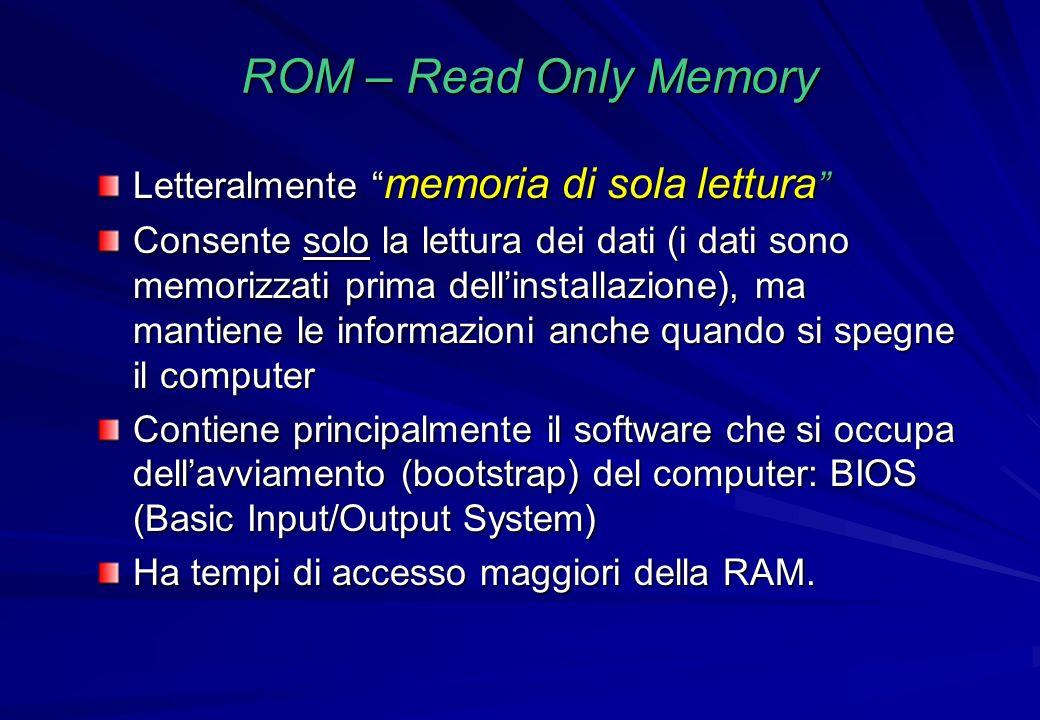 ROM – Read Only Memory Letteralmente memoria di sola lettura Letteralmente memoria di sola lettura Consente solo la lettura dei dati (i dati sono memo