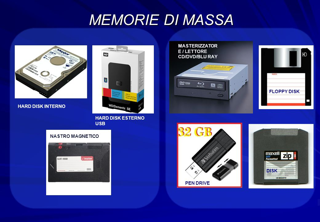 MEMORIE DI MASSA HARD DISK INTERNO HARD DISK ESTERNO USB MASTERIZZATOR E / LETTORE CD/DVD/BLU RAY PEN DRIVE FLOPPY DISK DISK NASTRO MAGNETICO
