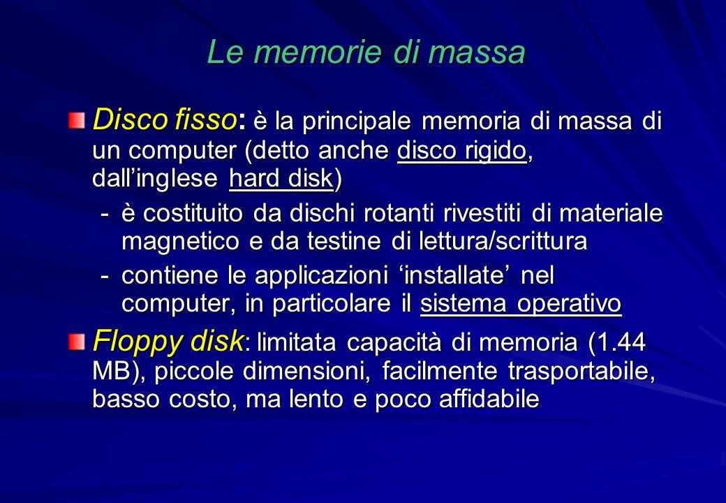 Le memorie di massa Disco fisso: è la principale memoria di massa di un computer (detto anche disco rigido, dallinglese hard disk) -è costituito da di