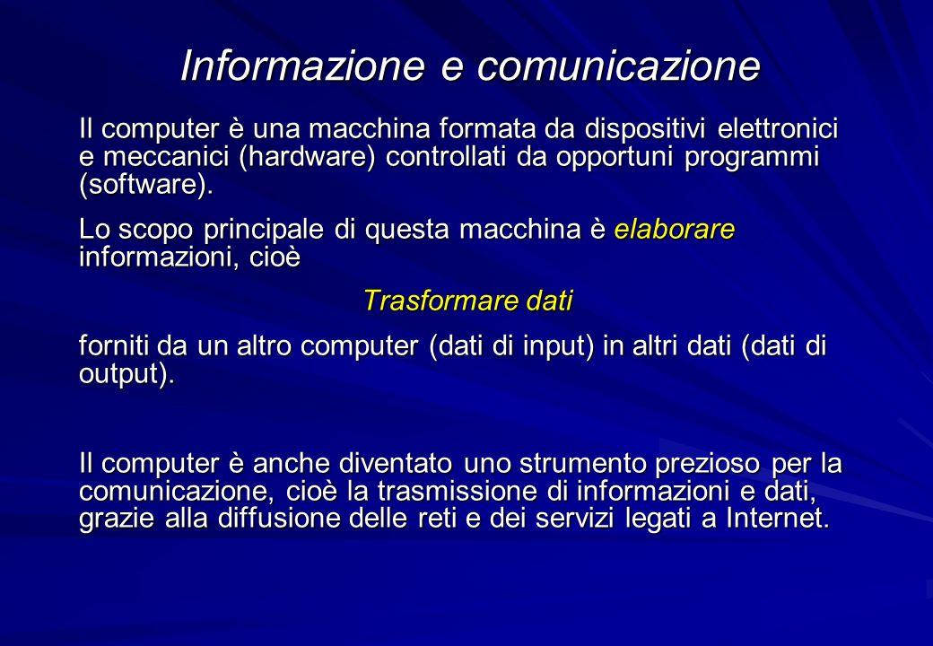 Il computer è una macchina formata da dispositivi elettronici e meccanici (hardware) controllati da opportuni programmi (software). Lo scopo principal