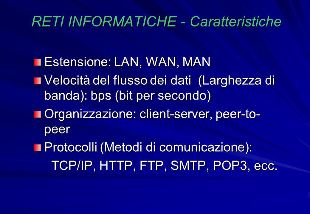 RETI INFORMATICHE - Caratteristiche Estensione: LAN, WAN, MAN Velocità del flusso dei dati (Larghezza di banda): bps (bit per secondo) Organizzazione: