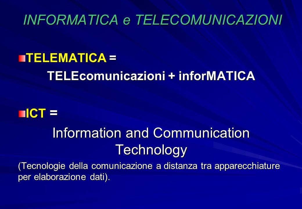 INFORMATICA e TELECOMUNICAZIONI TELEMATICA = TELEcomunicazioni + inforMATICA ICT = Information and Communication Technology (Tecnologie della comunica