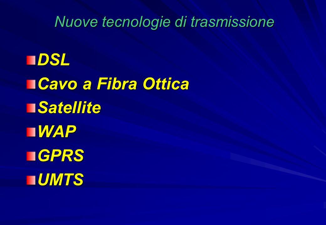 Nuove tecnologie di trasmissione DSL Cavo a Fibra Ottica SatelliteWAPGPRSUMTS
