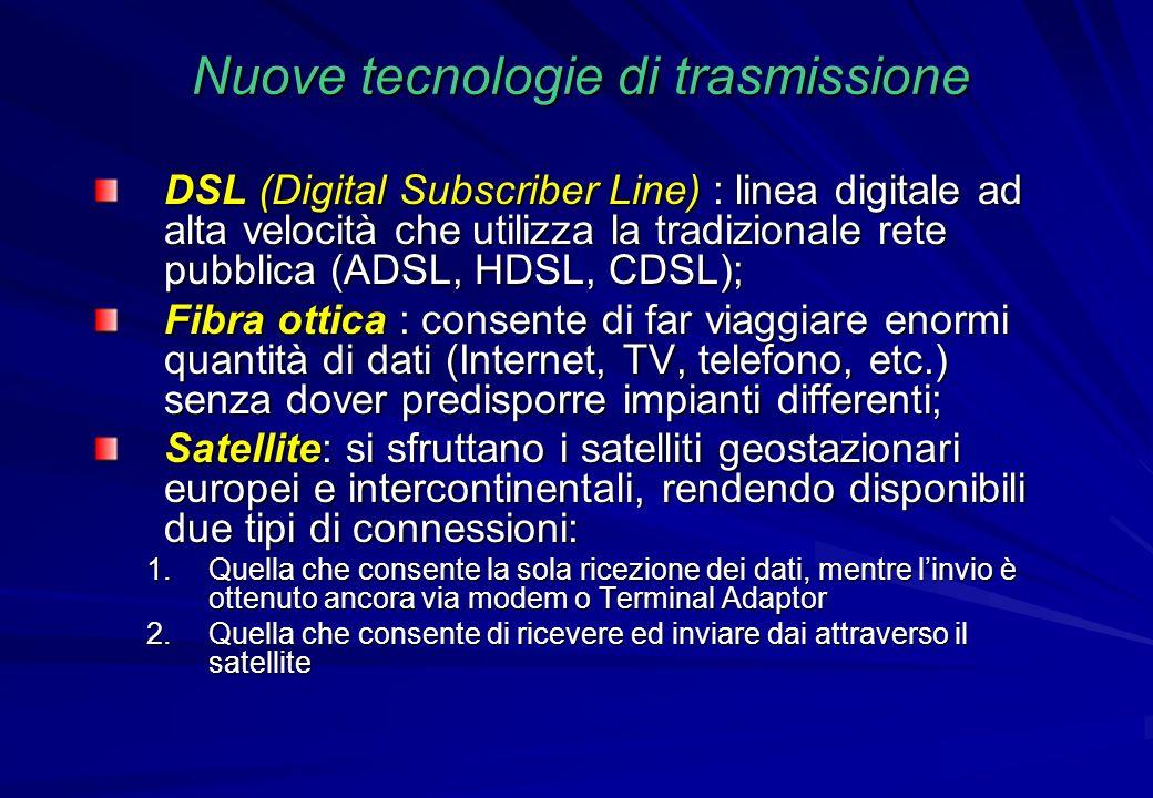 Nuove tecnologie di trasmissione DSL (Digital Subscriber Line) : linea digitale ad alta velocità che utilizza la tradizionale rete pubblica (ADSL, HDS