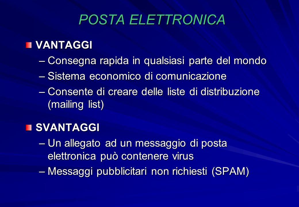 POSTA ELETTRONICA VANTAGGI –Consegna rapida in qualsiasi parte del mondo –Sistema economico di comunicazione –Consente di creare delle liste di distri