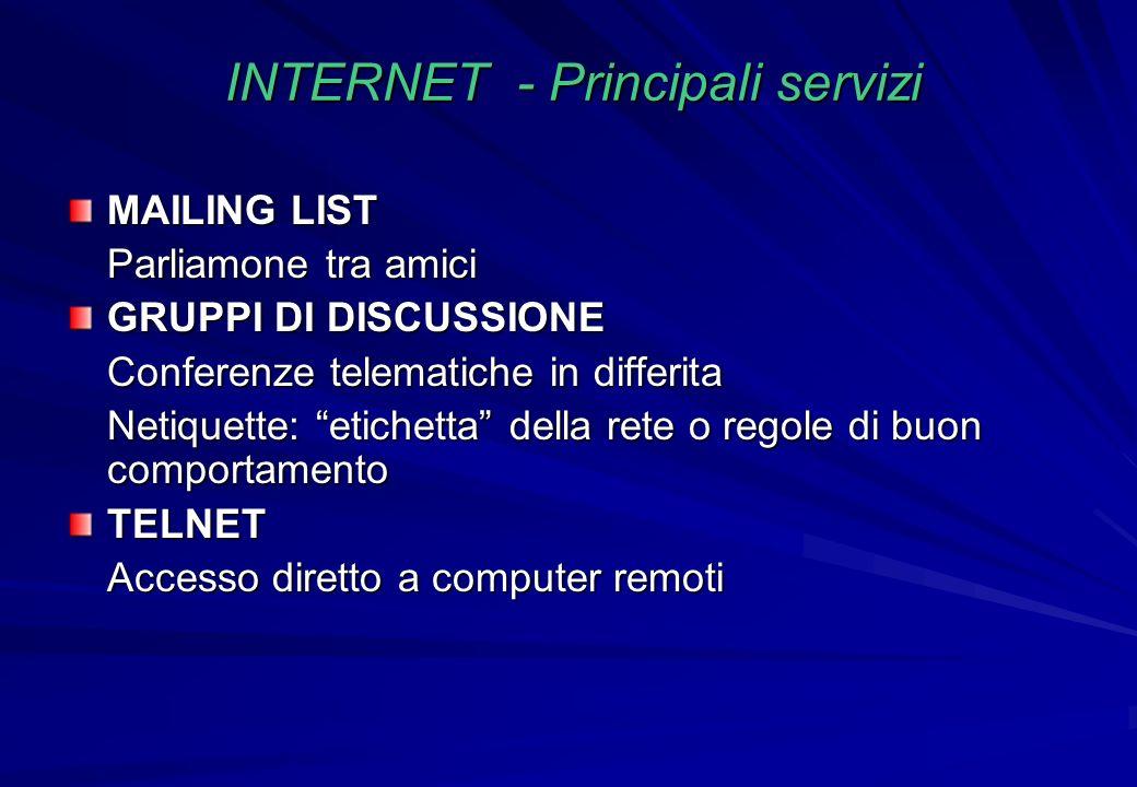 INTERNET - Principali servizi MAILING LIST Parliamone tra amici GRUPPI DI DISCUSSIONE Conferenze telematiche in differita Netiquette: etichetta della