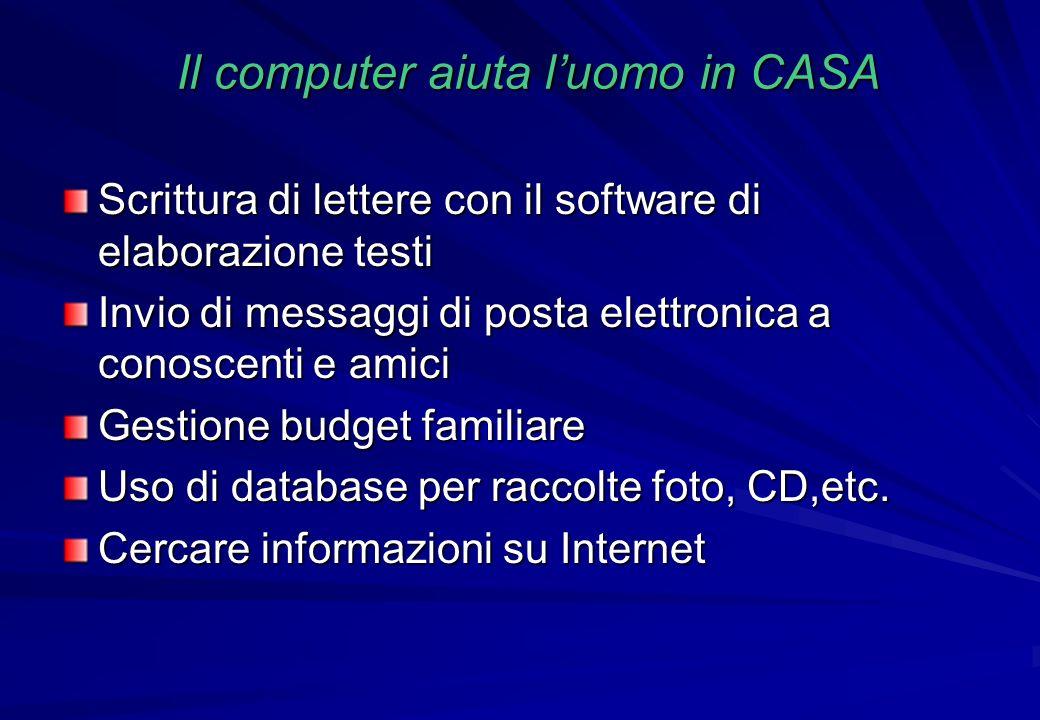 Il computer aiuta luomo in CASA Scrittura di lettere con il software di elaborazione testi Invio di messaggi di posta elettronica a conoscenti e amici
