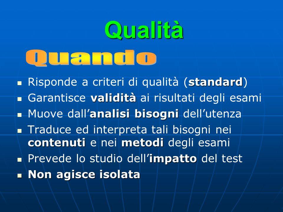 Qualità standard Risponde a criteri di qualità (standard) validità Garantisce validità ai risultati degli esami analisi bisogni Muove dallanalisi biso