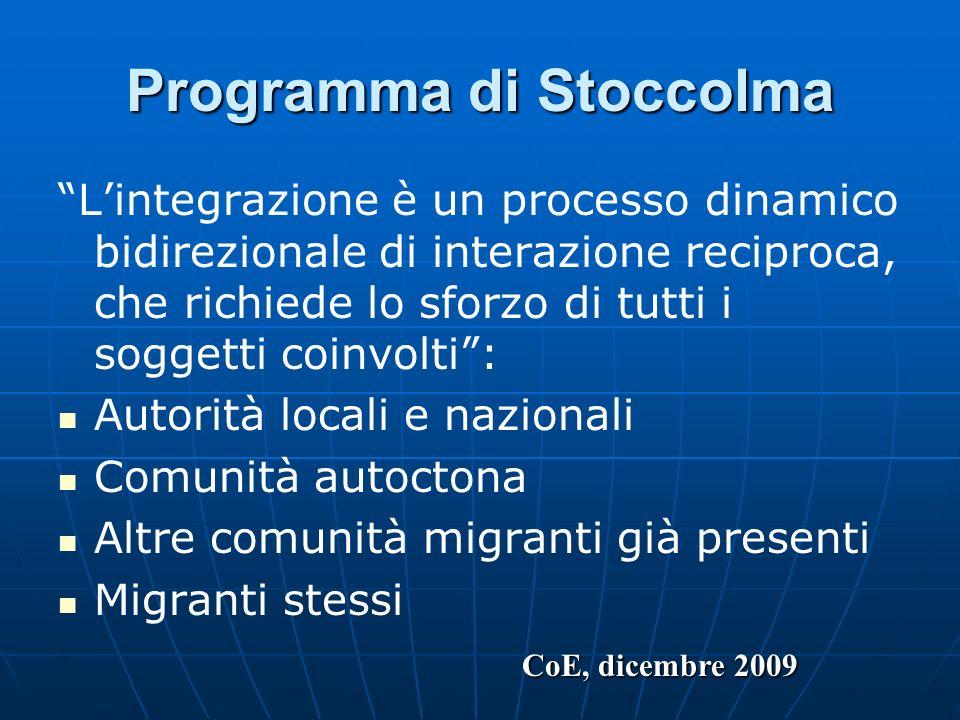 Programma di Stoccolma Lintegrazione è un processo dinamico bidirezionale di interazione reciproca, che richiede lo sforzo di tutti i soggetti coinvol