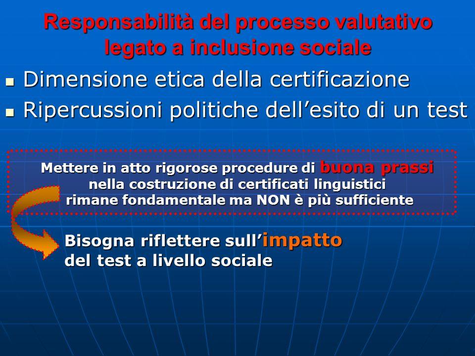 Responsabilità del processo valutativo legato a inclusione sociale Dimensione etica della certificazione Dimensione etica della certificazione Ripercu