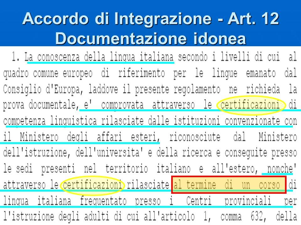 Accordo di Integrazione - Art. 12 Documentazione idonea