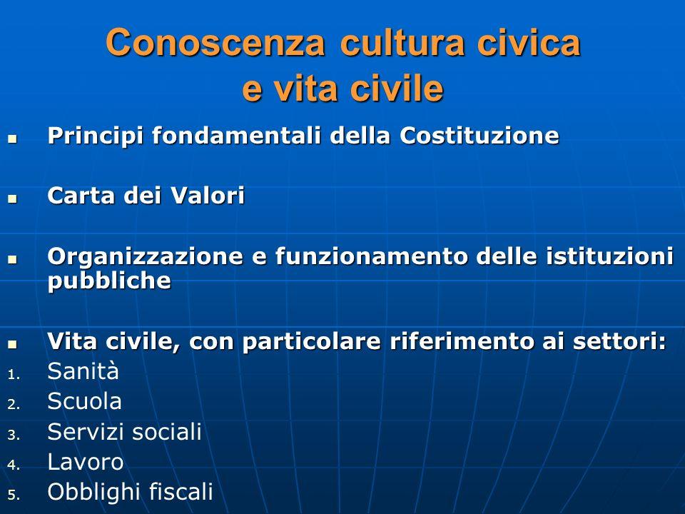 Conoscenza cultura civica e vita civile Principi fondamentali della Costituzione Principi fondamentali della Costituzione Carta dei Valori Carta dei V