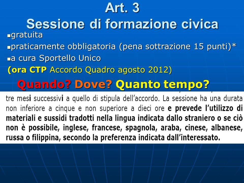 Art. 3 Sessione di formazione civica Quando?Dove? Quanto tempo? Quando? Dove? Quanto tempo? gratuita gratuita praticamente obbligatoria (pena sottrazi