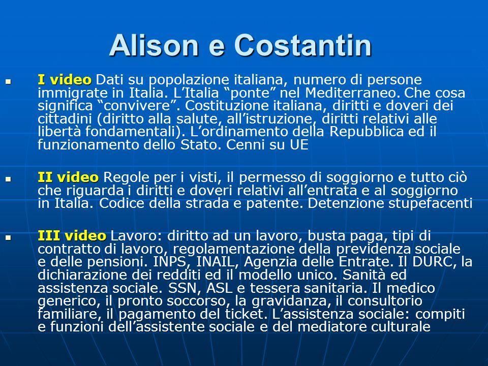 Alison e Costantin I video I video Dati su popolazione italiana, numero di persone immigrate in Italia. LItalia ponte nel Mediterraneo. Che cosa signi