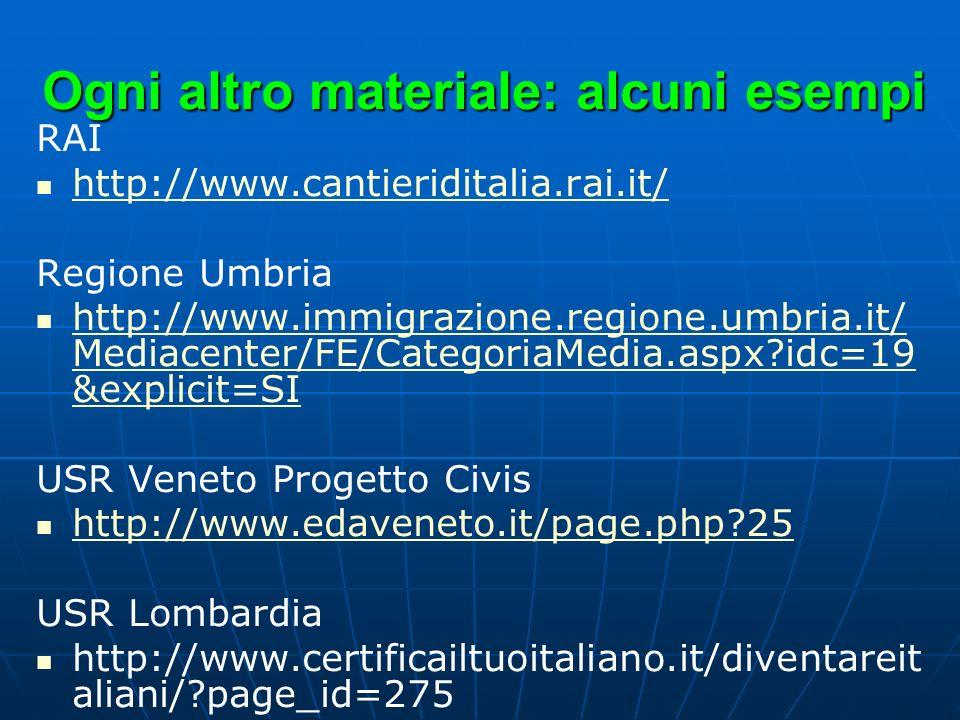 Ogni altro materiale: alcuni esempi RAI http://www.cantieriditalia.rai.it/ Regione Umbria http://www.immigrazione.regione.umbria.it/ Mediacenter/FE/Ca
