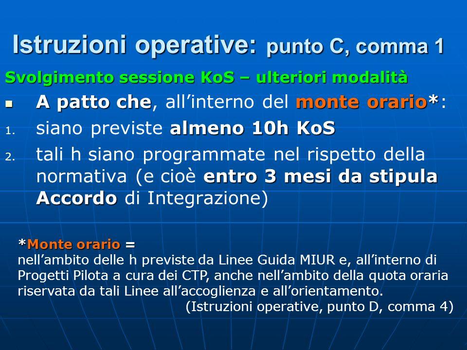 Istruzioni operative: punto C, comma 1 Svolgimento sessione KoS – ulteriori modalità A patto chemonte orario* A patto che, allinterno del monte orario