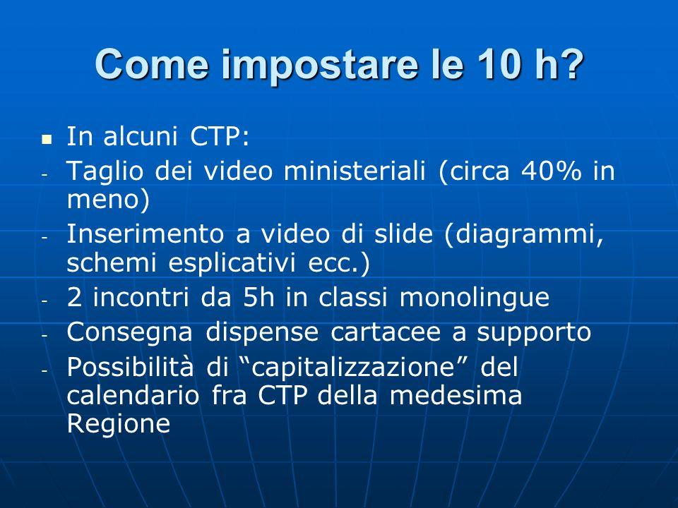 Come impostare le 10 h? In alcuni CTP: - - Taglio dei video ministeriali (circa 40% in meno) - - Inserimento a video di slide (diagrammi, schemi espli