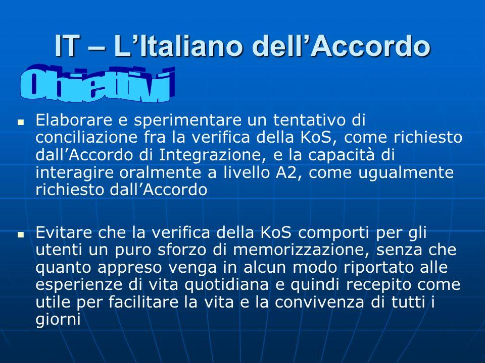 IT – LItaliano dellAccordo Elaborare e sperimentare un tentativo di conciliazione fra la verifica della KoS, come richiesto dallAccordo di Integrazion