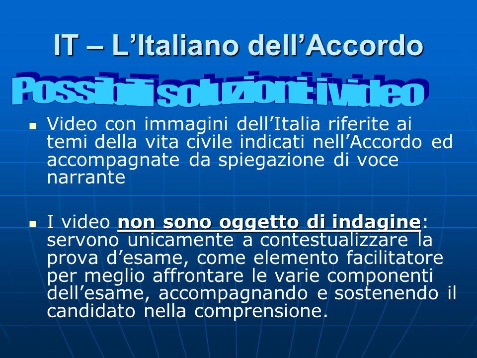 IT – LItaliano dellAccordo Video con immagini dellItalia riferite ai temi della vita civile indicati nellAccordo ed accompagnate da spiegazione di voc