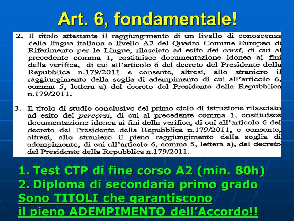 Art. 6, fondamentale! 1.Test CTP di fine corso A2 (min. 80h) 2.Diploma di secondaria primo grado Sono TITOLI che garantiscono il pieno ADEMPIMENTO del