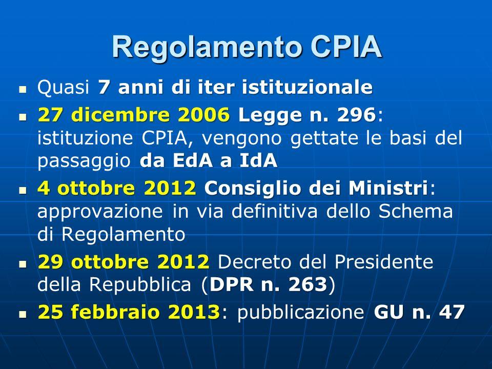 Regolamento CPIA 7 anni di iter istituzionale Quasi 7 anni di iter istituzionale 27 dicembre 2006 Legge n. 296 da EdA a IdA 27 dicembre 2006 Legge n.