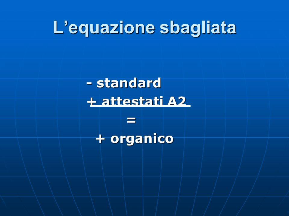 Lequazione sbagliata - standard + attestati A2 = + organico + organico