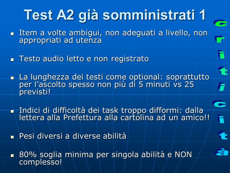 Test A2 già somministrati 1 Item a volte ambigui, non adeguati a livello, non appropriati ad utenza Item a volte ambigui, non adeguati a livello, non