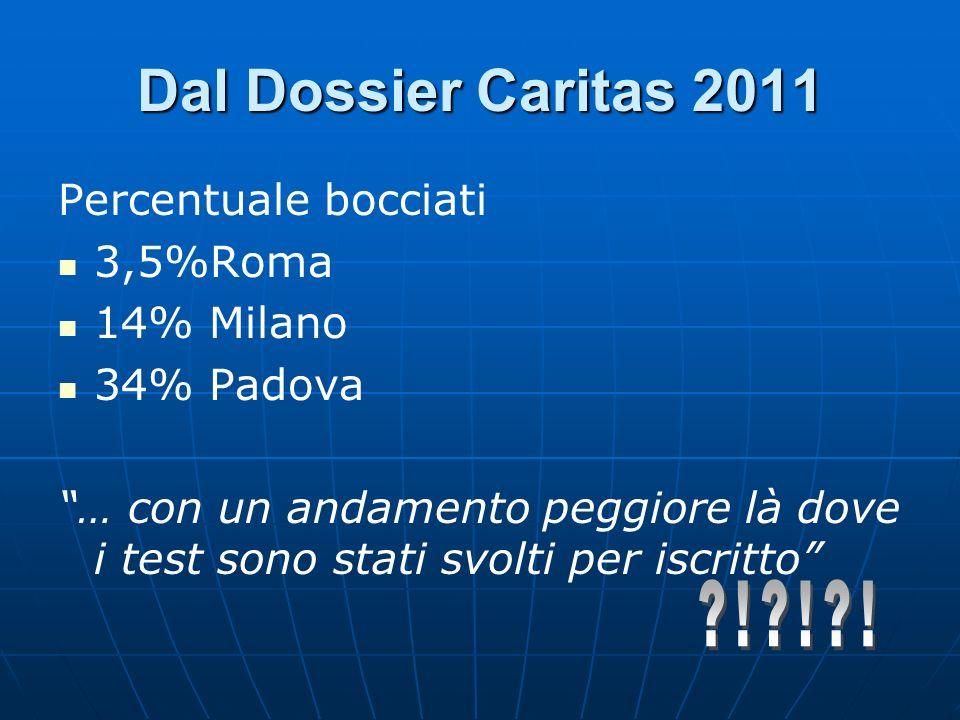 Dal Dossier Caritas 2011 Percentuale bocciati 3,5%Roma 14% Milano 34% Padova … con un andamento peggiore là dove i test sono stati svolti per iscritto