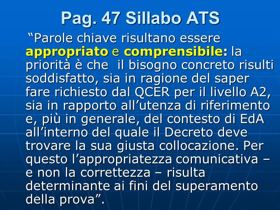 Pag. 47 Sillabo ATS Parole chiave risultano essere appropriato e comprensibile: la priorità è che il bisogno concreto risulti soddisfatto, sia in ragi