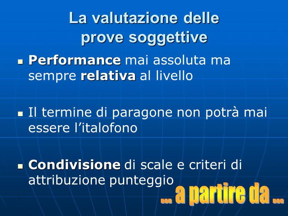 La valutazione delle prove soggettive Performance relativa Performance mai assoluta ma sempre relativa al livello Il termine di paragone non potrà mai