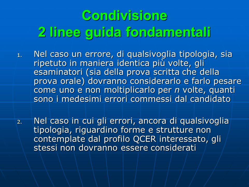 Condivisione 2 linee guida fondamentali 1. Nel caso un errore, di qualsivoglia tipologia, sia ripetuto in maniera identica più volte, gli esaminatori