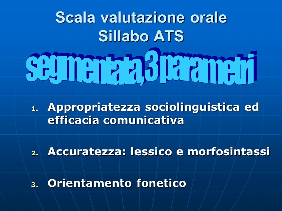 Scala valutazione orale Sillabo ATS 1. Appropriatezza sociolinguistica ed efficacia comunicativa 2. Accuratezza: lessico e morfosintassi 3. Orientamen