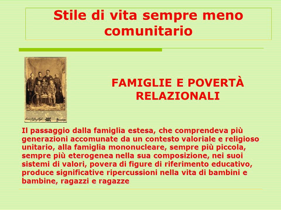 Stile di vita sempre meno comunitario FAMIGLIE E POVERTÀ RELAZIONALI Il passaggio dalla famiglia estesa, che comprendeva più generazioni accomunate da