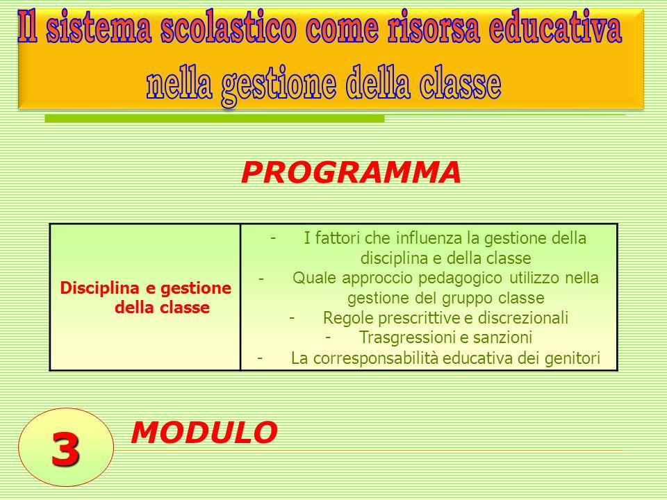 3 MODULO Disciplina e gestione della classe -I fattori che influenza la gestione della disciplina e della classe -Quale approccio pedagogico utilizzo