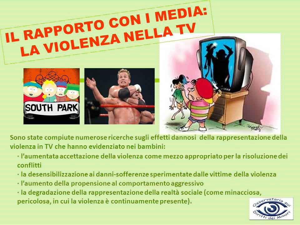 IL RAPPORTO CON I MEDIA: LA VIOLENZA NELLA TV Sono state compiute numerose ricerche sugli effetti dannosi della rappresentazione della violenza in TV