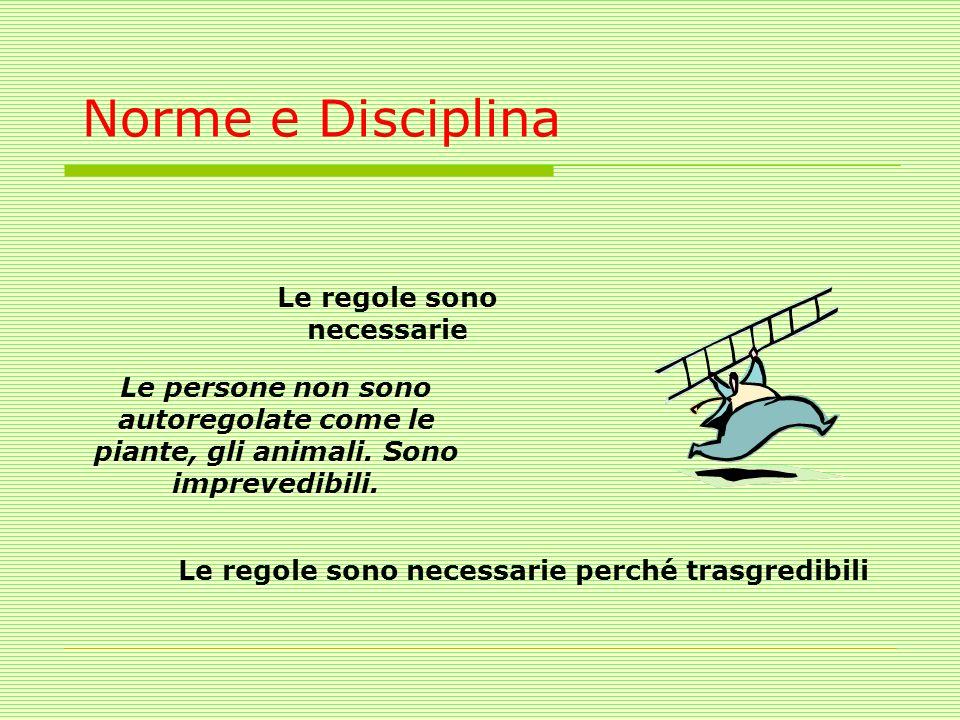 Norme e Disciplina Le regole sono necessarie Le regole sono necessarie perché trasgredibili Le persone non sono autoregolate come le piante, gli anima