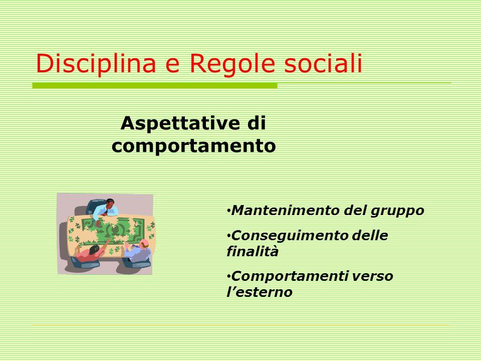 Disciplina e Regole sociali Aspettative di comportamento Mantenimento del gruppo Conseguimento delle finalità Comportamenti verso lesterno