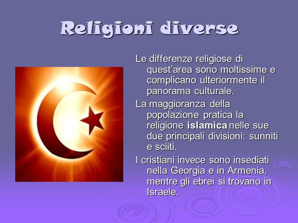 Religioni diverse Le differenze religiose di questarea sono moltissime e complicano ulteriormente il panorama culturale. La maggioranza della popolazi
