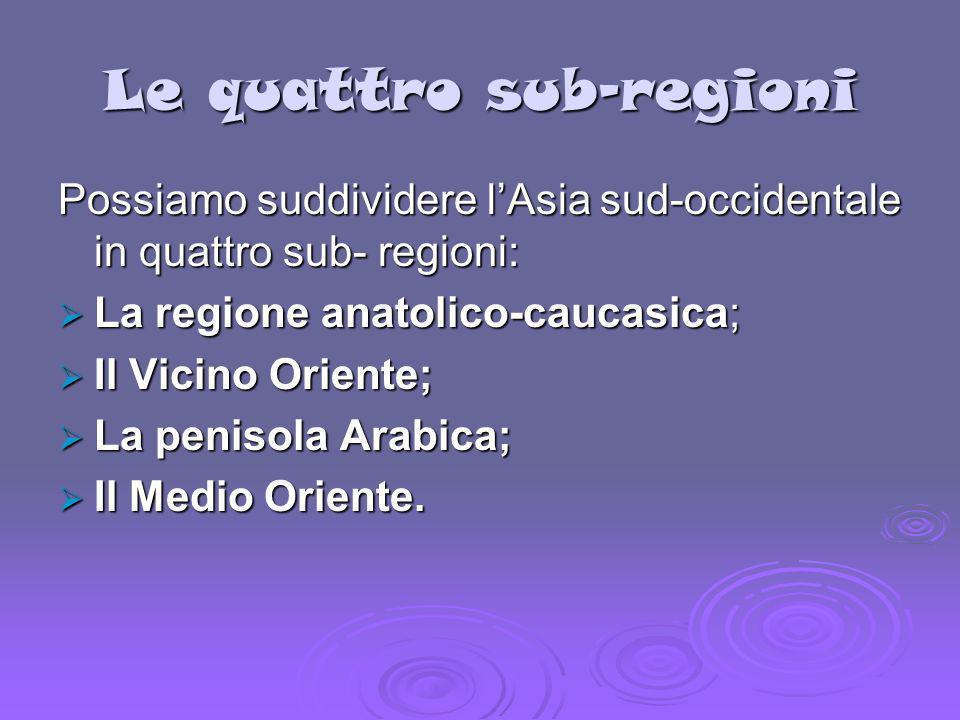 Le quattro sub-regioni Possiamo suddividere lAsia sud-occidentale in quattro sub- regioni: La regione anatolico-caucasica; La regione anatolico-caucas