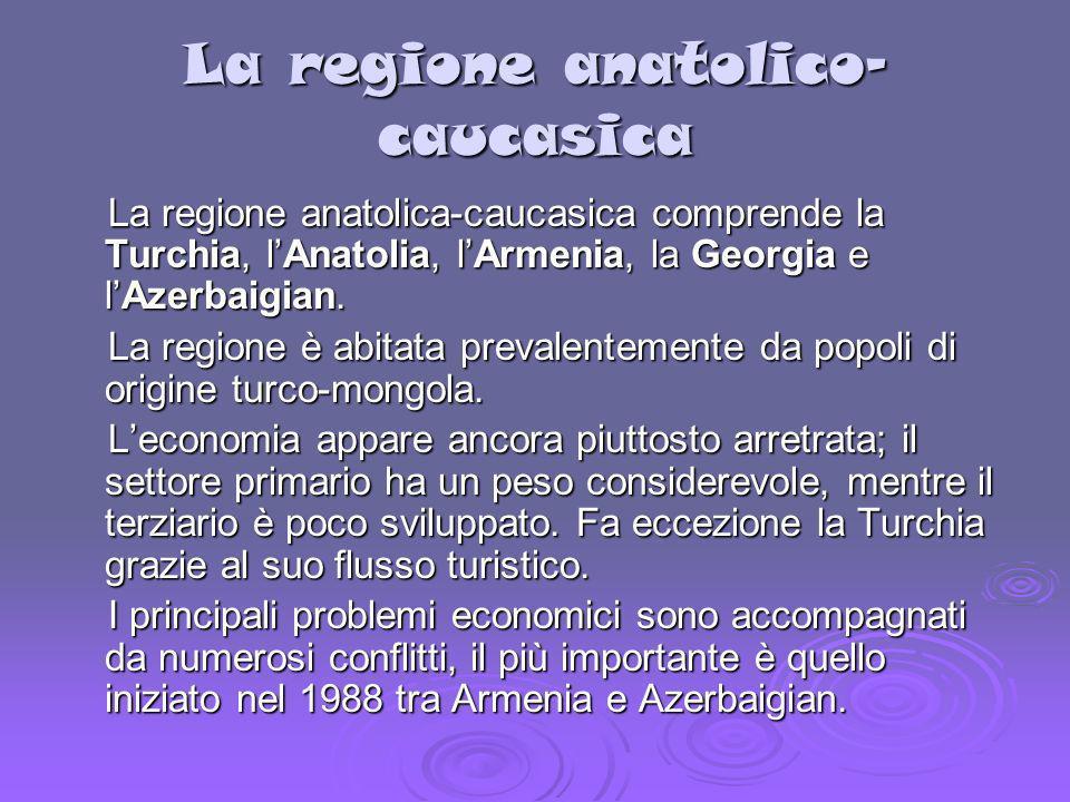 La regione anatolico- caucasica La regione anatolica-caucasica comprende la Turchia, lAnatolia, lArmenia, la Georgia e lAzerbaigian. La regione anatol