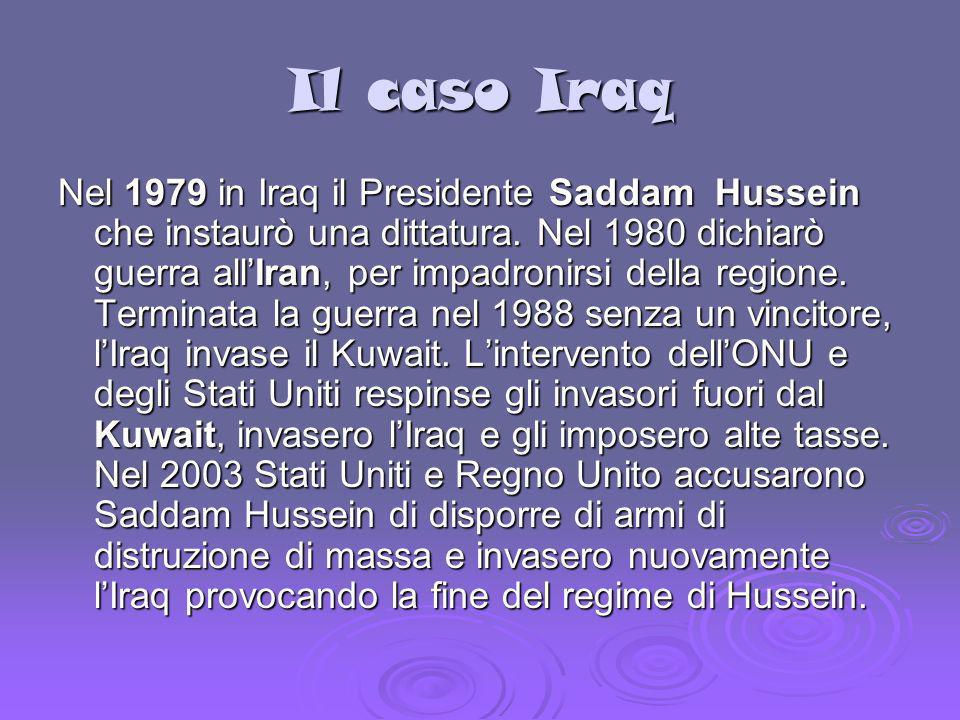 Il caso Iraq Nel 1979 in Iraq il Presidente Saddam Hussein che instaurò una dittatura. Nel 1980 dichiarò guerra allIran, per impadronirsi della region