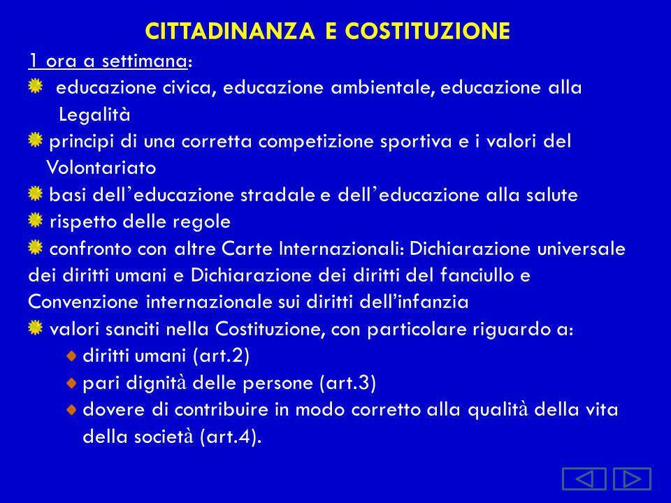CITTADINANZA E COSTITUZIONE 1 ora a settimana: educazione civica, educazione ambientale, educazione alla Legalità principi di una corretta competizion