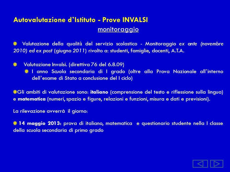 Autovalutazione d Istituto - Prove INVALSI monitoraggio Valutazione della qualit à del servizio scolastico - Monitoraggio ex ante (novembre 2010) ed e