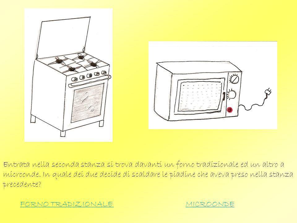Entrata nella seconda stanza si trova davanti un forno tradizionale ed un altro a microonde. In quale dei due decide di scaldare le piadine che aveva