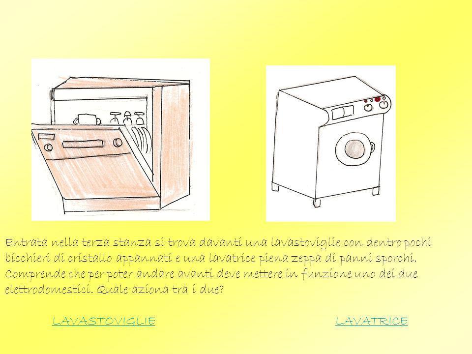Entrata nella terza stanza si trova davanti una lavastoviglie con dentro pochi bicchieri di cristallo appannati e una lavatrice piena zeppa di panni s