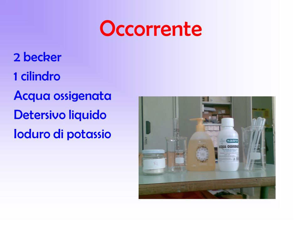 Occorrente 2 becker 1 cilindro Acqua ossigenata Detersivo liquido Ioduro di potassio