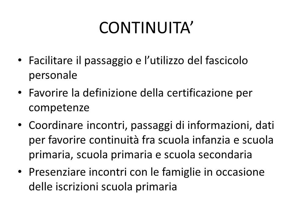 CONTINUITA Facilitare il passaggio e lutilizzo del fascicolo personale Favorire la definizione della certificazione per competenze Coordinare incontri