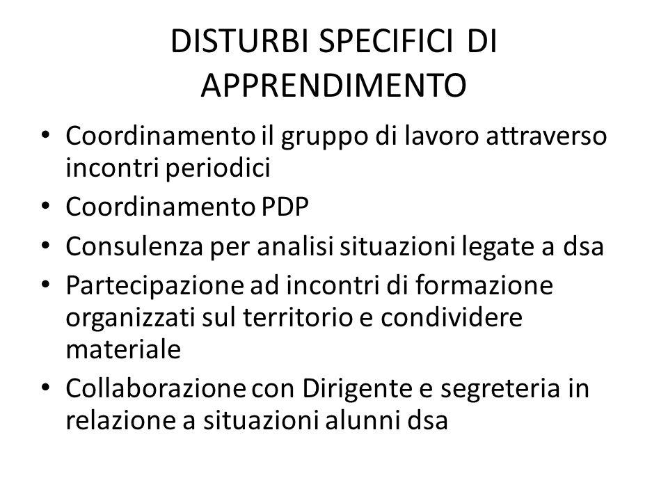 DISTURBI SPECIFICI DI APPRENDIMENTO Coordinamento il gruppo di lavoro attraverso incontri periodici Coordinamento PDP Consulenza per analisi situazion