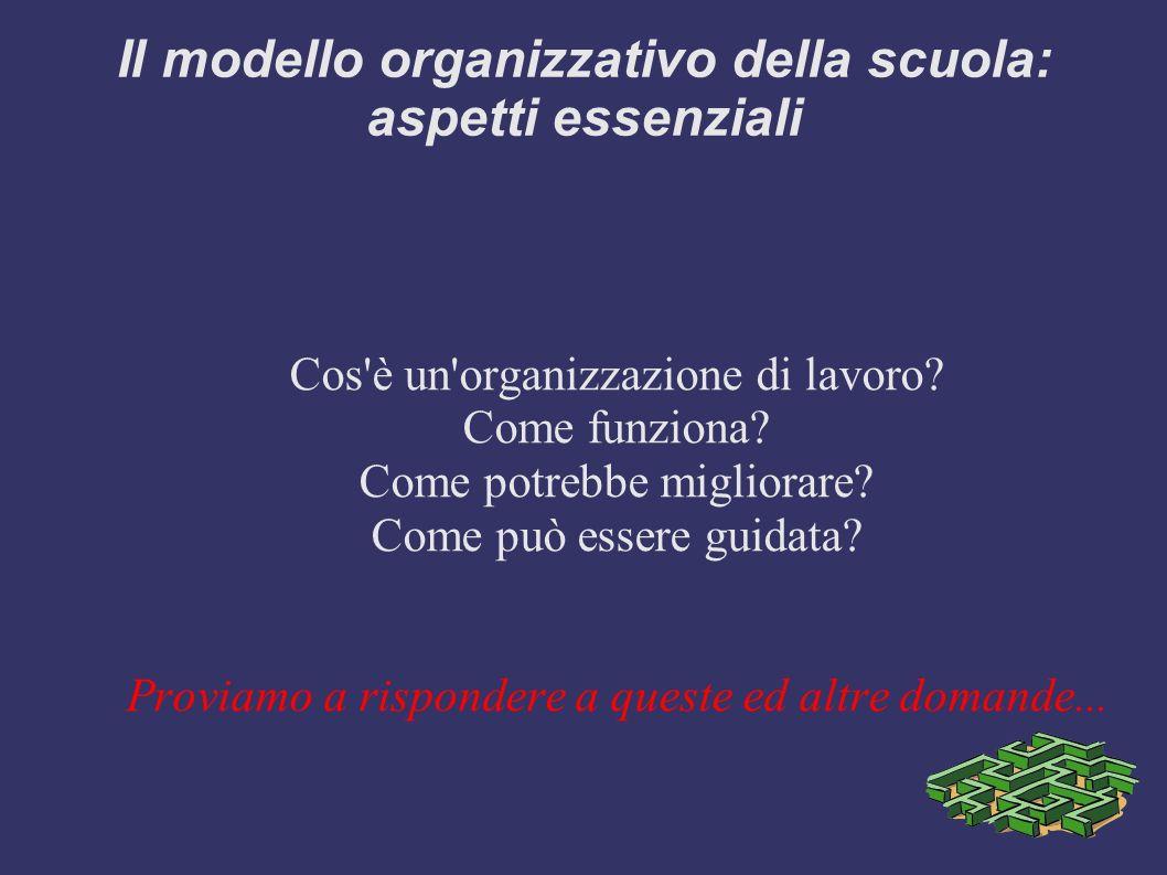 Il modello organizzativo della scuola: aspetti essenziali Cos'è un'organizzazione di lavoro? Come funziona? Come potrebbe migliorare? Come può essere