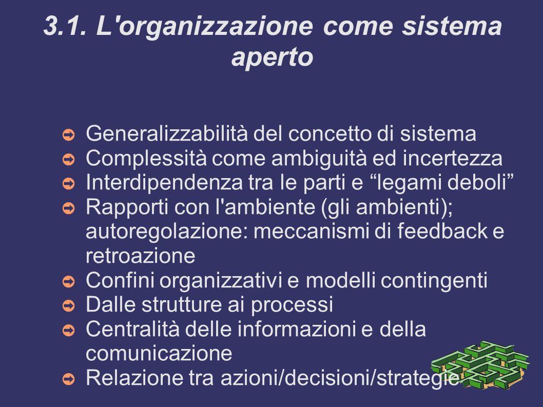 3.1. L'organizzazione come sistema aperto Generalizzabilità del concetto di sistema Complessità come ambiguità ed incertezza Interdipendenza tra le pa